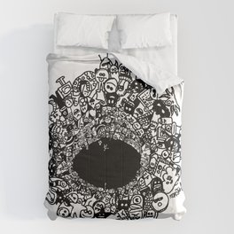 Monsters falling in hole, doodle art Comforters