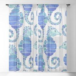 Seahorse - Blue  Sheer Curtain