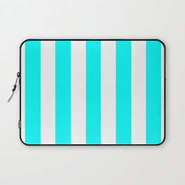 Cyan blue - solid color - white vertical lines pattern Laptop Sleeve