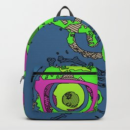 green funny skull art portrait with pink glasses and blue background Backpack