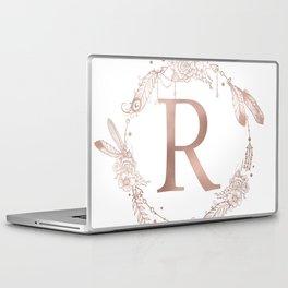 Letter R Rose Gold Pink Initial Monogram Laptop & iPad Skin