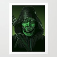 green arrow Art Prints featuring Arrow by Digital Sketch