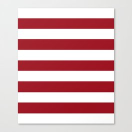 Ruby red - solid color - white stripes pattern Canvas Print