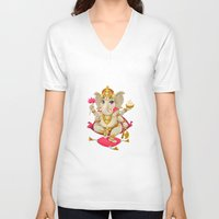 ganesh V-neck T-shirts featuring Ganesh by Danilo Sanino