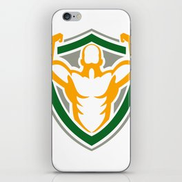 Strongman Flexing Muscles Crest Icon iPhone Skin