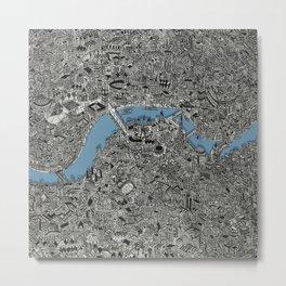 Map of London Thames Drawing Metal Print