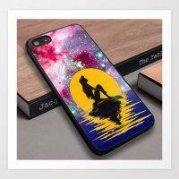 Ariel Little Mermaid Art Nebula Galaxy Moon Custom iPhone 6s Case Art Print