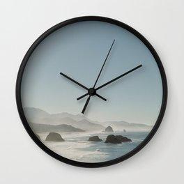 Hazy Morning at Cannon Beach, Oregon Wall Clock