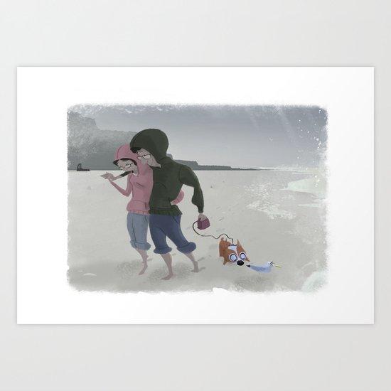 Strollin' on a gloomy day Art Print