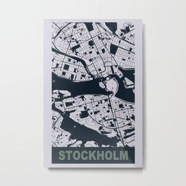 Stockholm, Sweden, city map, Mischka grey Metal Print