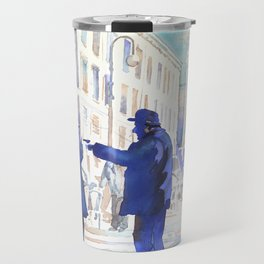 Watercolor painting of two old men arguing in piazza in Italy. Travel Mug