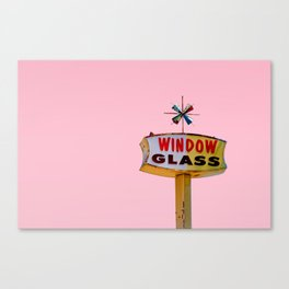 Atomic Pink Starburst - Vintage Googie-Style Sign with Pink Background Canvas Print