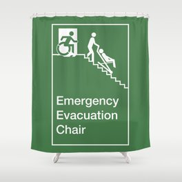 Accessible Means of Egress Icon, Emergency Evacuation Chair Sign Shower Curtain
