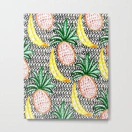 Pineapple and Banana Metal Print