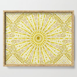 SUN WORSHIP Yellow Mandala Serving Tray