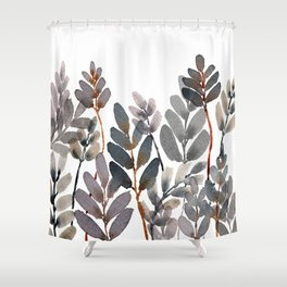 Layered Neutral Watercolor Leaves Shower Curtain
