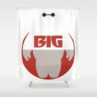 big hero 6 Shower Curtains featuring Baymax Big - Big Hero 6 by Dwieta Kreavi