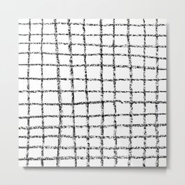 Black and white grid abstract minimal gridded pattern gifts basic nursery home decor Metal Print