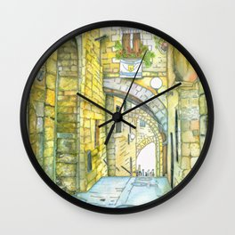 Jerusalem scene on silk Wall Clock