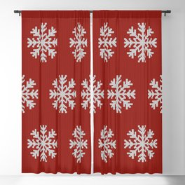 Knitted snowflakes Christmas pattern on red Blackout Curtain