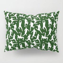 Soccer Players // Dark Green Pillow Sham