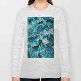 Turquoise Navy Blue Agate Black Gold Geometric Triangles Long Sleeve T-shirt