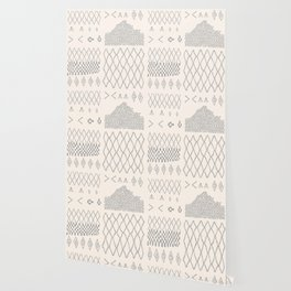 Moroccan Patchwork in Cream and Grey Wallpaper