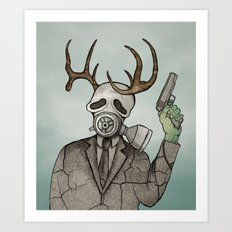 Collage Love: Apocalyptic Deer Man Art Print