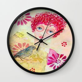 Whimiscal Girl with Red Curly Hair Wall Clock