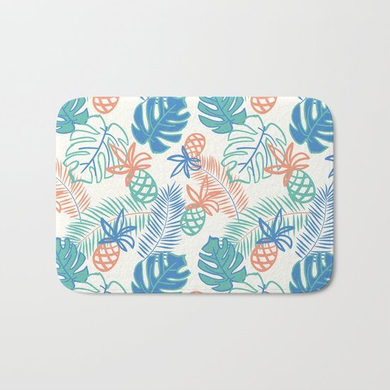 Pineapple pattern. Tropical foliage Bath Mat