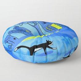 Night Cat On The Prowl Floor Pillow