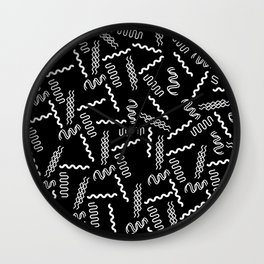 Black white retro geometrical 80's abstract pattern Wall Clock