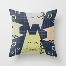 A few happy cats Throw Pillow