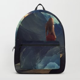 Woman Waking Into Outer Space Backpack