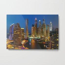 Dubai Marina at night Metal Print
