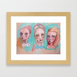 White, Blue and Pink Collared Framed Art Print