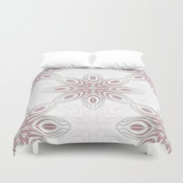 Feathers, Geometric Pattern in Mauve and Grey Duvet Cover