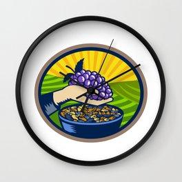 Hand Holding Grapes Raisins Oval Woodcut Wall Clock