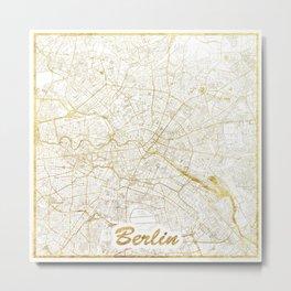 Berlin Map Gold Metal Print