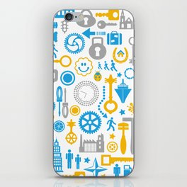 Colorful silhouettes of different objects on a white iPhone Skin