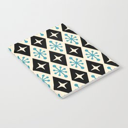 Mid Century Modern Atomic Triangle Pattern 922 Black and Blue Notebook
