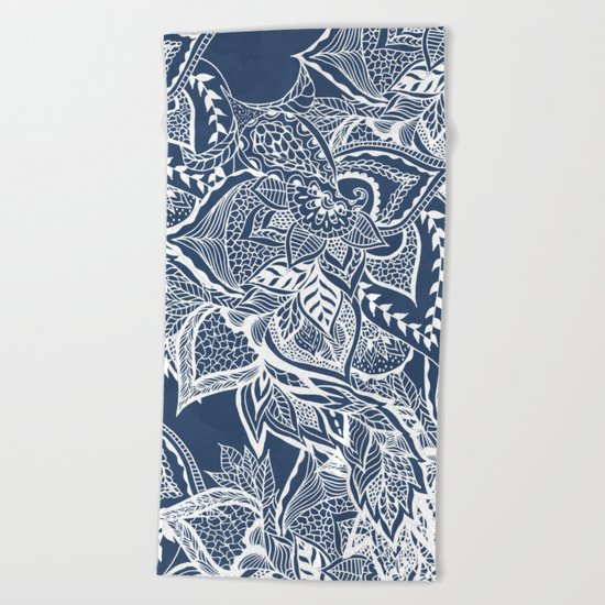 Modern navy blue peony white hand drawn floral watercolor pattern Beach Towel