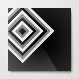 Retro Pop Art Diamonds - Black Grey White Abstract Metal Print