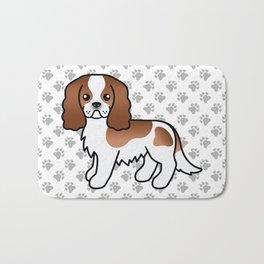 Cute Blenheim Cavalier King Charles Spaniel Dog Cartoon Illustration Bath Mat