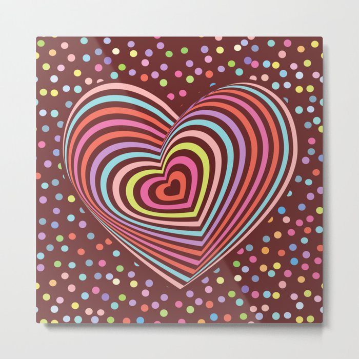 multi-colored rainbow heart on dark brown background. 3D Metal Print