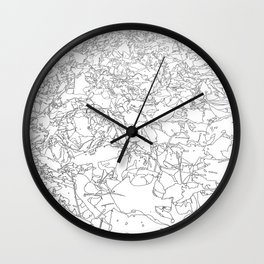fallen leaves, drawing Wall Clock