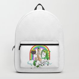 St Patricks Day Shiba Inu Riding a Unicorn With Rainbow and Clouds Backpack