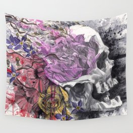 Headspace   Skull and Flowers Wall Tapestry