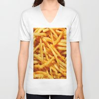 french fries V-neck T-shirts featuring French Fries by I Love Decor