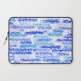 Cobalt Blue & Aqua Lines - White Laptop Sleeve